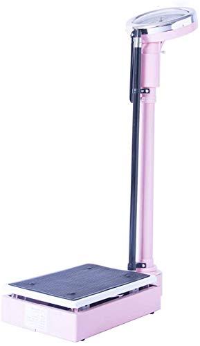 Básculas de baño de altura y escalas - a gran escala mecánica simular, antideslizante esteras de PVC, varilla de medición de la altura,Pink-120kg capacity