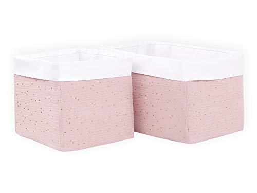 KraftKids Stoff-Körbchen in Musselin goldene Punkte auf Rosa, Aufbewahrungskorb für Kinderzimmer, Aufbewahrungsbox fürs Bad, Größe 20 x 33 x 20 cm