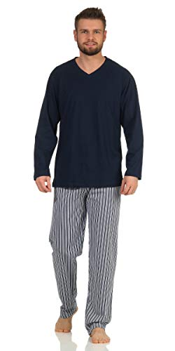 Langer Schlafanzug Baumwolle Rundhals oder V-Ausschnitt weicher Warmer Pyjama 5 Verschiedene Modelle und Farben wählbar Grösse 50/M - 56/XXL (XL, Navy mit Gestreifter Hose)