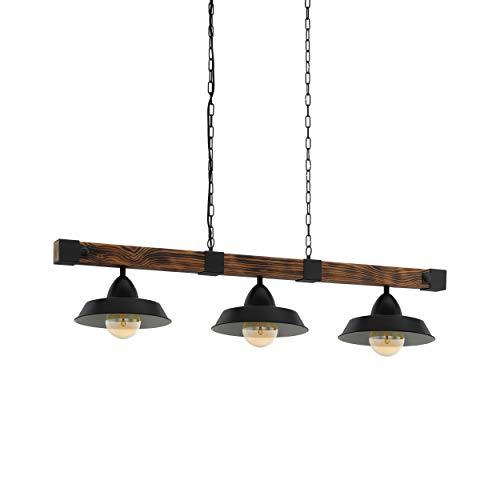 Lámpara colgante EGLO OLDBURY, lámpara de suspensión vintage con 3 bombillas de estilo industrial, lámpara colgada de acero y madera, color: negro, marrón rústico, casquillo: E27, L: 118 cm