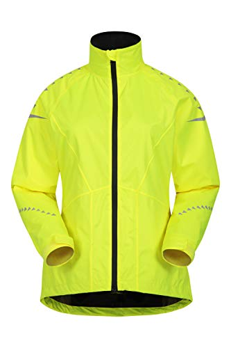 Mountain Warehouse wasserdichte Ultra-Vis Damen-Radjacke – leichtes, atmungsaktives Regentop, geschöpfte Rückenpartie – ideal für Outdoor, Laufen, Triathlon Helles Gelb 46 DE (48 EU)