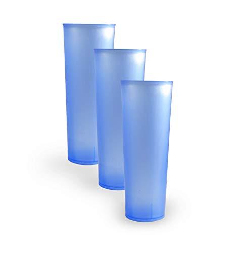 Vaso Tubo de Plástico Reutilizable. Color Azul. Cantidad 50 Unids / Bolsa 10. Cap. 330ml. Vasos de plástico para fiestas, celebraciones,etc. - REUTILIZABLES
