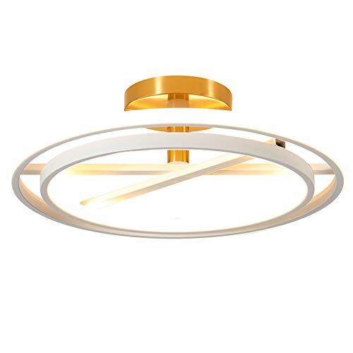 LED 2-ring plafondlamp, modern dimbaar woonkamerlamp, met afstandsbediening, slaapkamerlamp, kiezelgel-lampenkap, wit-goud, metalen keukenlamp, restaurant eettafel plafondlamp, 41 W Ø45 cm