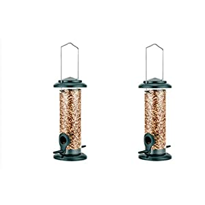 "iBorn Hanging Wild Bird Feeder Seed Feeder for Garden Outdoors 8"" with Two Feeding Ports All Metal Painted Rust-resistant, Green 2 Packs"