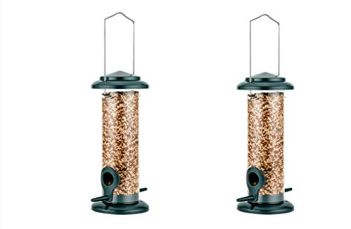 """iBorn Hanging Wild Bird Feeder Seed Feeder for Garden Outdoors 8"""" with Two Feeding Ports All Metal Painted Rust-resistant, Green 2 Packs"""