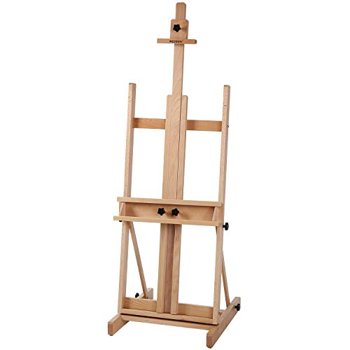 "MEEDEN Classic H-Frame Studio Easel, Artist Solid Beechwood Floor Easel, Premium Artist Easel Perfect for Oil, Acylic, Casein, Sketching, Pastel Painting, Holds Canvas Art up to 77"", Natural Color"