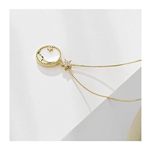 QZH Collar de Perlas, Collar Mujer S925 Cadena de clavícula de Plata esterlina 18k Oro nicho Diseño de Lujo Ligero Collar de Gargantilla de Todo fósforo