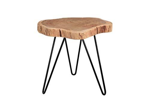 SAM Beistelltisch Logan, Couchtisch aus 1 Baumscheibe, Akazienholz massiv, naturfarben, Sofatisch mit Hairpin-Gestell schwarz, 50 x 50 x 47 cm