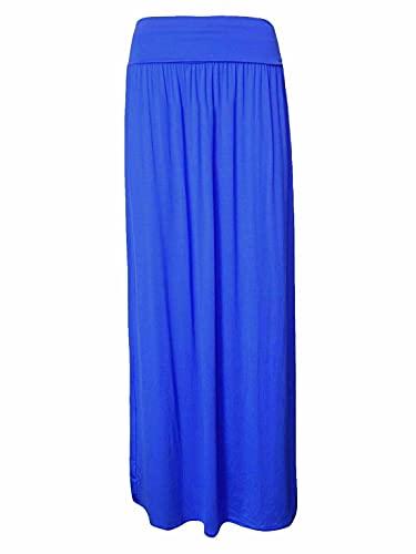 Falda larga larga con cintura alta plisada y plisada para mujer, azul real, 36-38