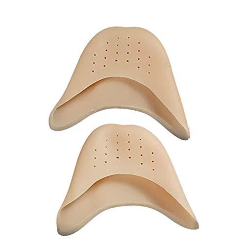 BulzEU - 2 Paire Silicone Casquettes de Pieds, Protection orteils de Pieds, Silicone Capuchons d'orteils pour Danseur Ballet (Brun, avec trous)