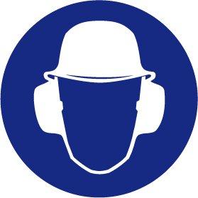 Gebotsschild aus Aluminium - Schutzhelm und Gehörschutz tragen - Ø 30 cm