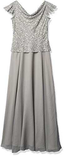 J Kara Women's Beaded Cowl Neck Flutter Sleeve Long Dress, Silver/Silver, 10 (Apparel)