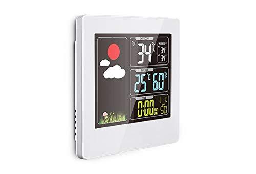THOMSON COLOR Wetterstation mit Funk Außensensor - Farbdisplay, Anzeige: Temperatur Innen/Außen, Anzeige: Luftfeuchtigkeit Innen, Uhrzeit, Wecker
