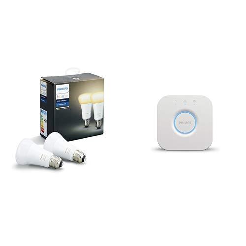 Philips Lighting Hue White Ambiance Lampadina LED E27, 1 Pezzo, 9 W, Bianco [Classe di efficienza energetica A+] + Hue Bridge 2.0 Controllo del Sistema