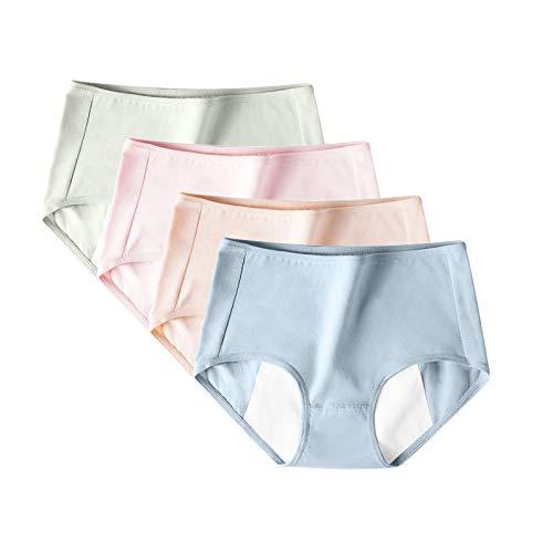 Nouveau 2021 4PCS Culotte Menstruelle Femme sans Couture Couleur Unie la Taille Moyenne Slips Taille Mi-Haute sous-vêtement Menstruation Menstruels Underwear Panties, Confortable et Respirant