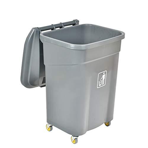 Papeleras Cubo de basura al aire libre del cubo de basura de la basura del lanzamiento 60L con la tapa 360 ° que gira el compartimiento de la unidad de almacenamiento del jardín de las ruedas for el h