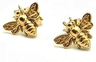 Gold Bee Stud Earrings, 24k Gold Vermeil Bumblebee Jewelry, Honeybee