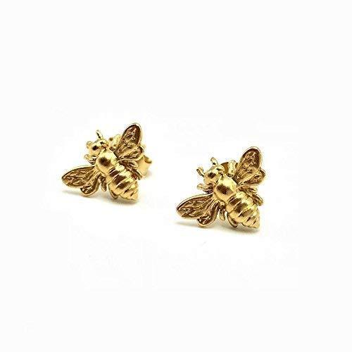 Gold Bee Stud Earrings, 24k Gold Vermeil over Sterling Silver, Bumblebee Jewelry, Honeybee Posts