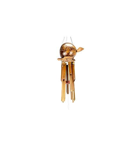 Carillon à Vent en Bambou avec décor Tortue animée en Noix de Coco