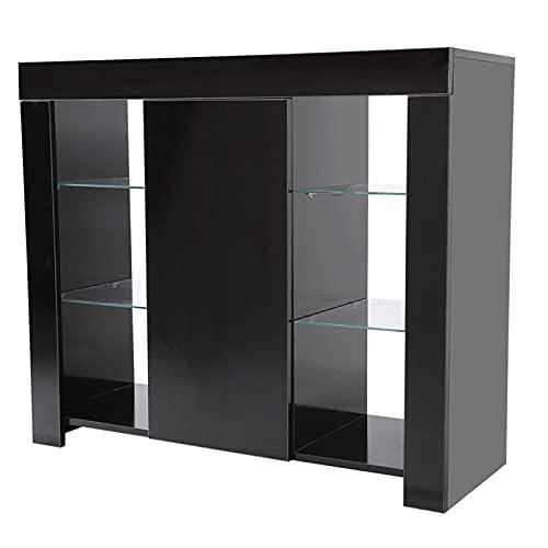 Wakects Armario, Mueble de salón Moderno, Muebles Bonitos Aparador,con Luz LED de Alto Brillo,para Sala de Estar,Dormitorio,Pasillo,Cocina,97.5 x 35 x 83.5 cm(Black)