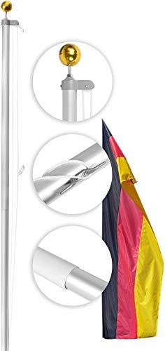 normani Aluminium Fahnenmast inkl. Deutschland Fahne + Bodenhülse + Zugseil in verschiedenen Höhen wählbar Größe 6.5 m