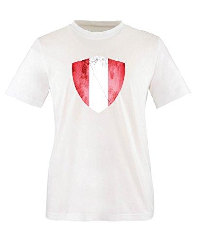 Comedy Shirts - Peru Trikot - Wappen: Groß - Wunsch - Kinder T-Shirt - Weiss/Rot Gr. 152-164