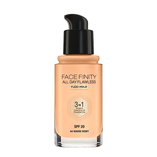 Max Factor Facefinity All Day Flawless 3 in 1 Fondotinta Liquido a Lunga Durata 44 Warm Ivory, 30 ml