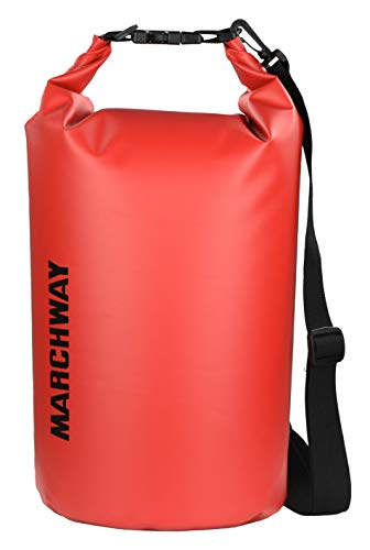 MARCHWAY Floating Waterproof Dry Bag 5L/10L/20L/30L, Roll Top Sack Keeps Gear Dry for Kayaking, Rafting, Boating, Swimming, Camping, Hiking, Beach, Fishing (Red, 10L)