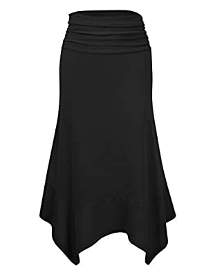 GloryStar Women's Elastic Waist A-Line Flowy Asymmetrical Pleated Midi Skirt