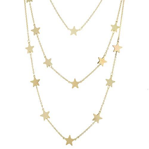 inSCINTILLE Collar de Tres Vueltas con Estrellas de Acero Inoxidable (Oro)