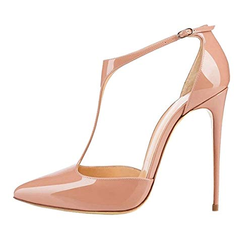 Patent Leather Women's Sexy Pointed Toe Stiletto Strap Lining with Microfiber Super High Heel Comfortable Easy Walking Evening Party Pumps for Women Zkd3301, color Blanco, talla 35 EU
