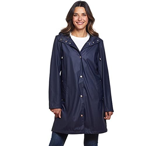 Martha Stewart Hooded WaterProof Rain Jacket Slicker for Women Denim L
