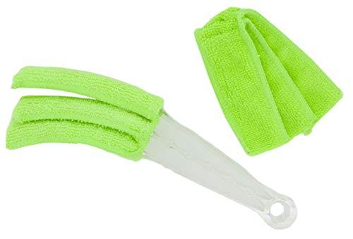 PAMEX - Cepillo Limpia Rejillas, Venecianas, Mallorquinas + 2 Recambios de Microfibra (Verde)