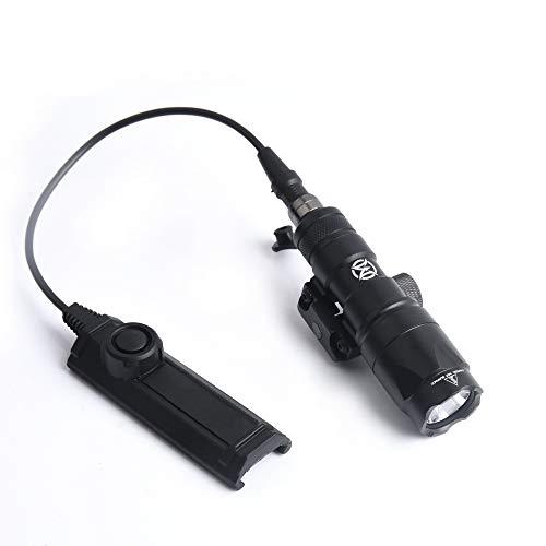 WADSN Scout Light M300A Linterna táctica de 280 lúmenes, linterna M300 con interruptor de presión, linterna táctica con riel Picatinny para acampar, senderismo(Black)