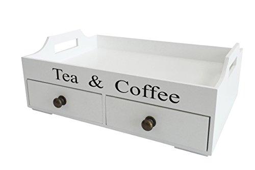 Vassoio in legno bianco con cassetti TEA and Coffee manico in legno cucina vassoio legno vassoio della colazione