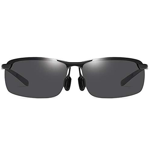 Raxinbang Gafas de Sol Medio Marco Deportivo Antideslumbrante Material Metálico UV400 Gafas De Sol Negro/Marco De Pistola Lente Gris Gafas De Sol De Conducción De Los Hombres Cuadrados
