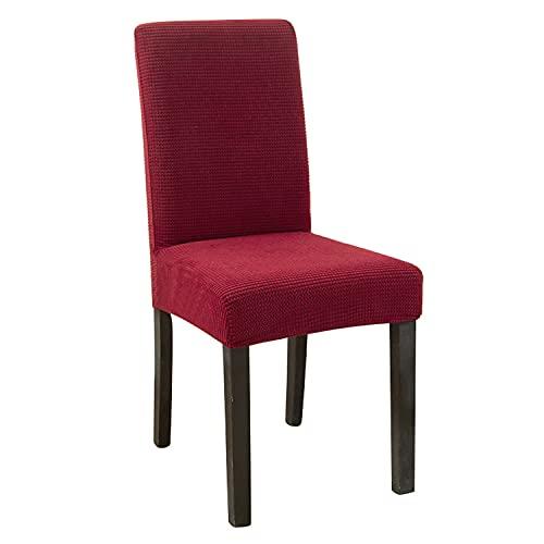NLCYYQ Fundas elásticas para silla de comedor, forro polar, fundas de silla de respaldo alto, fundas protectoras para sillas gruesas para bodas, banquetes (2 unidades), color rojo