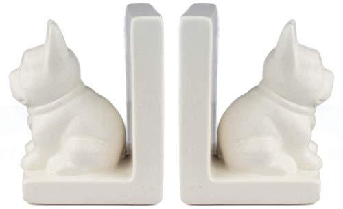 Dog Book Ends for Shelves 2pcs Set ( White Dog ), Ceramic Decorative Bookends (White Ceramic)