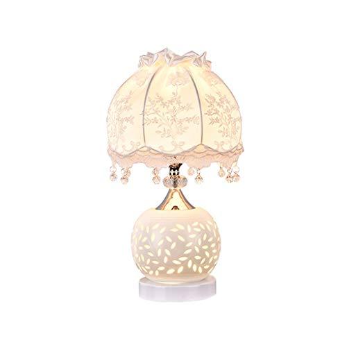 Yyqx lámpara de Mesa Lámpara de Mesa de Noche Tela de Bordado Pantalla de Dormitorio Lámpara de Escritorio de Cristal de cerámica Europea for Sala de Estar de Dormitorio (Color : White)