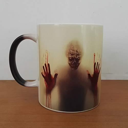 WSKL The Walking Dead, Tazas de café, Taza de té Que Cambia de Color, Taza mágica, Regalo, Cabeza de Zombi, Doble Cara