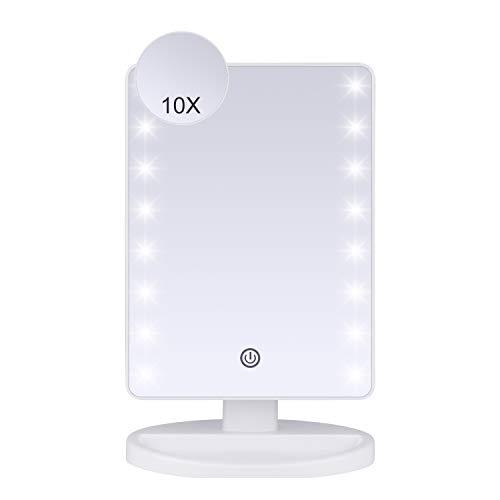JessLab Espejo de Maquillaje con Luz, LED 1X 10X Espejo Maquillaje con Lupa Atenuador Táctil Espejo Cosmético con Luz LED Espejo de Vanidad Adjustable Espejo de Afeitar con Base de 180 Grados - Blanco