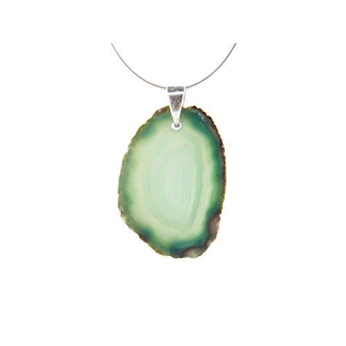 Colgante de Agata (baño de Plata) Color Verde Minerales y Cristales, Belleza energética, Meditacion, Amuletos Espirituales