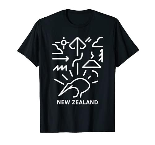 ニュージーランド キウイ ギフト ミニマリズム ラインハート マオリデザイン Tシャツ