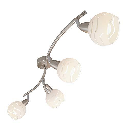 Briloner Leuchten Deckenleuchte, Deckenlampe 4 dreh- & schwenkbare Spot-Lights, toller Glas-Aufdruck, Metall, matt-nickel, max. 40 W, 70 x 9.7 x 13 cm