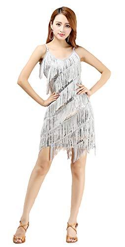 Insun Femme Robe sans Manche Robe à Frange Robe à Paillettes Bretelles Réglables Costume de Danse pour Déguisement Soirée Danse Latine Argent
