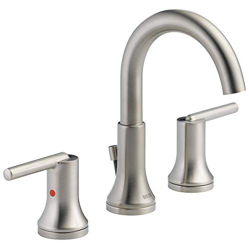 DELTA Trinsic Widespread Bathroom Faucet Brushed Nickel, Bathroom Faucet 3 Hole, Diamond Seal Technology, Metal Drain Assembly, Stainless 3559-SSMPU-DST