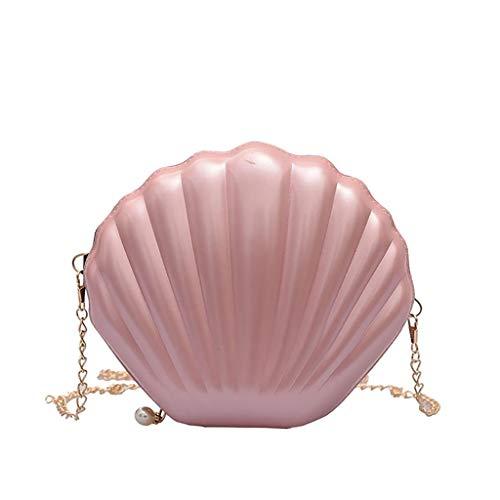 VJGOAL Damen Rucksack, Frauen Mädchen Mode Muscheltasche Volltonfarbe Kette Schulter Messenger Bag … (One size, Rosa)