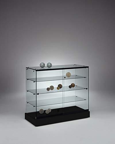 MHN brede semi-hoge tentoonstellingsvitrine afsluitbaar - design glazen vitrine zwart met LED-verlichting oprolbaar 100 cm breed