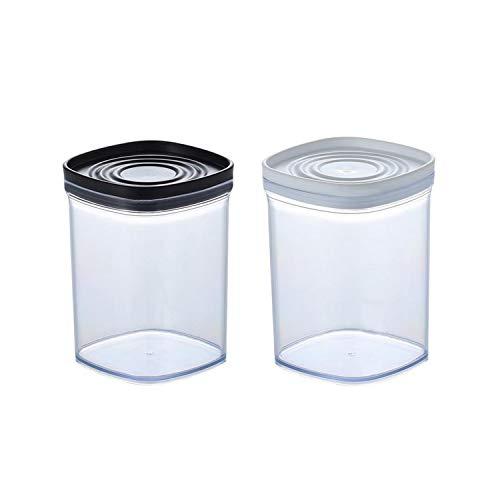 Qiajie 2 unidades de almacenamiento de alimentos contenedor de plástico con tapa 520 ml de cocina de grano entero caja de almacenamiento para el hogar cocina