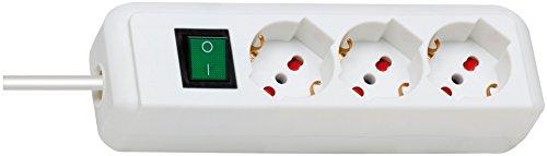 Brennenstuhl Eco-Line, stekkerdoos met schakelaar, veiligheid (kabel 1,4 MT – stekkerdoos 3-zits kunststof wit) voor stopcontacten met beveiliging overspanningsbeveiliging